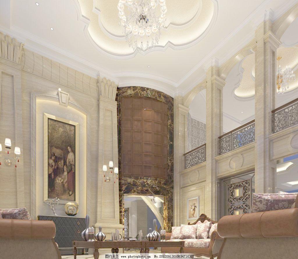某欧式风格别墅客厅室内设计效果图图片