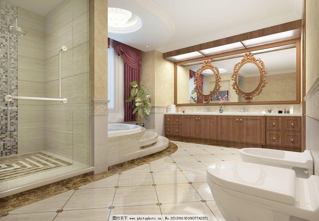 欧式风格 独栋 别墅 主卧卫生间 室内 设计        室内设计 环境设计图片