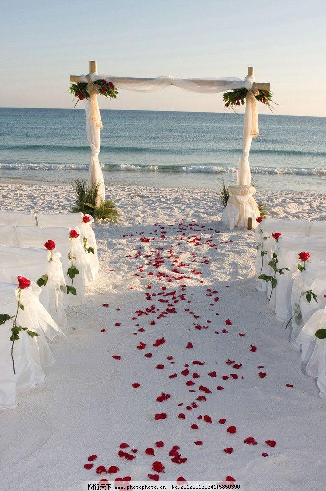 婚礼场地 婚礼场地布置 玫瑰花 教堂 海边 冬天 下雪 大海 自然风景
