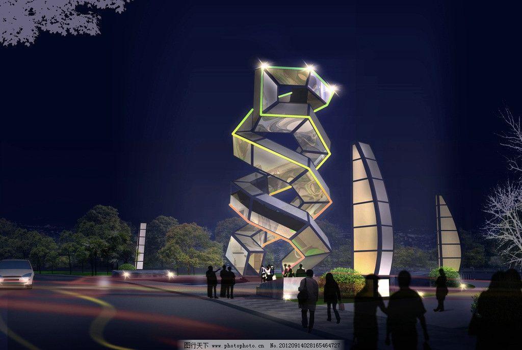 沿河路景观塔节点 广场 雕塑 工业文化 景观塔 景观设计 环境设计
