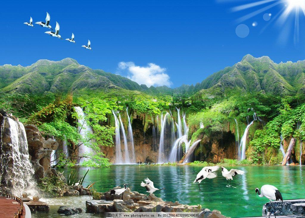 山水瀑布 流水 高山流水 山涧 假山 瀑布 瀑布风景 鹤 仙鹤 白鹤 石头