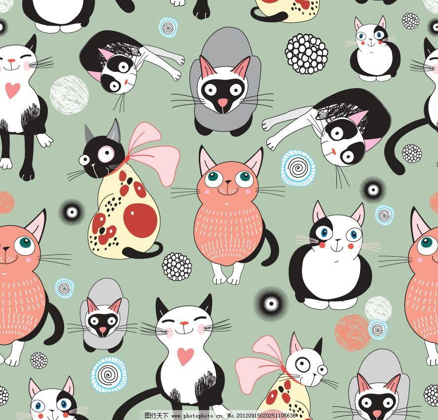 可爱卡通小猫表情背景图片,笑脸 有趣 手绘 时尚 梦幻
