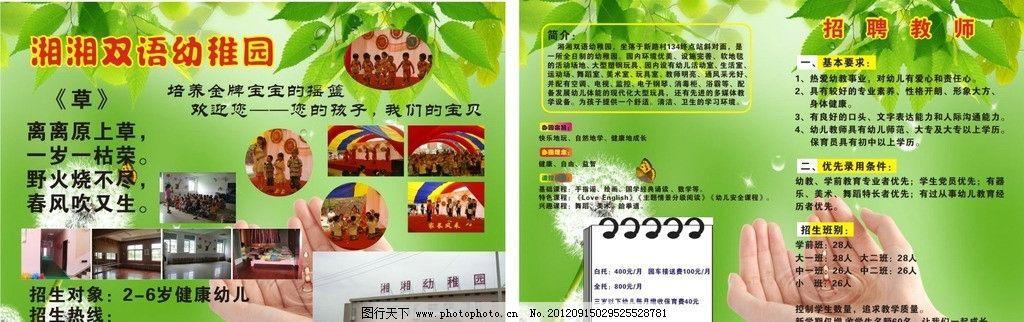 幼儿园宣传单 树叶 蒲公英 小朋友图片 蝴蝶 一双手 广告设计 矢量