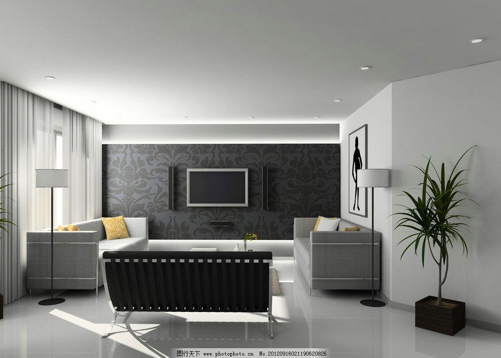 时尚客厅 沙发 液晶电视 台灯 窗帘 室内装潢 效果图