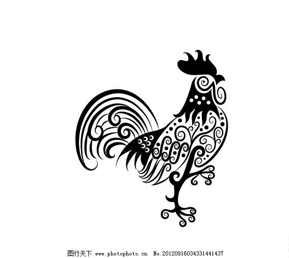 黑白稿 花纹组成的动物矢量素材