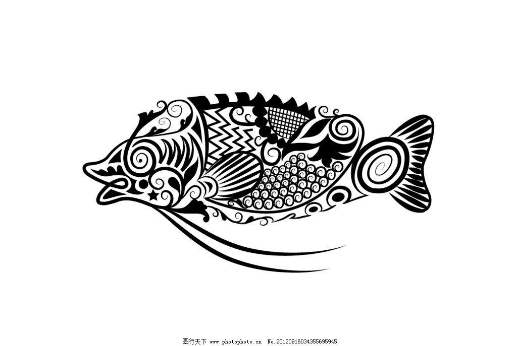 动物花纹矢量素材 手绘矢量花纹动物 鱼 黑白稿 花纹组成的动物矢量