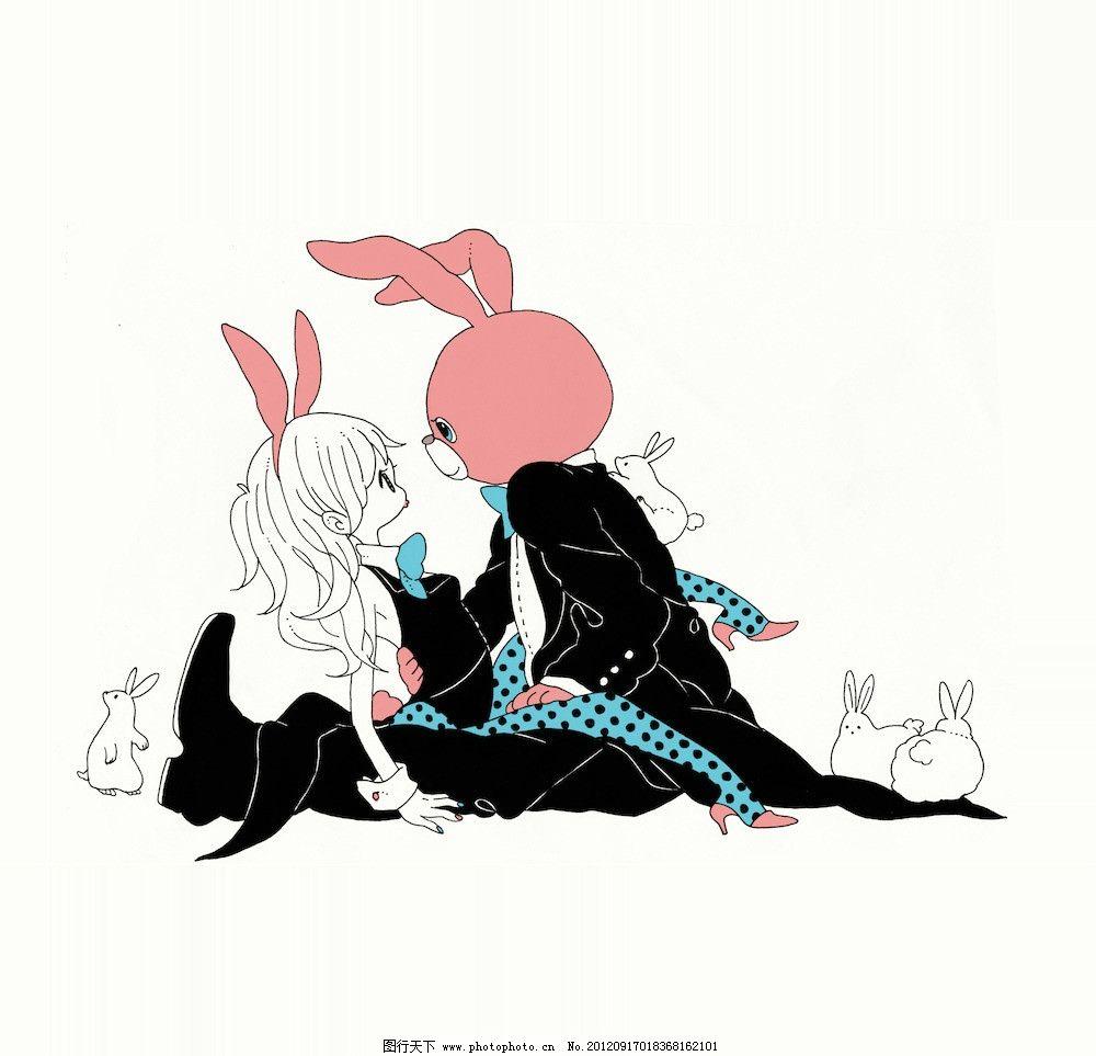 可爱兔子卡通图 公主 萝莉 可爱 动漫 动画 淡蓝色 裙子 卡通 矢量