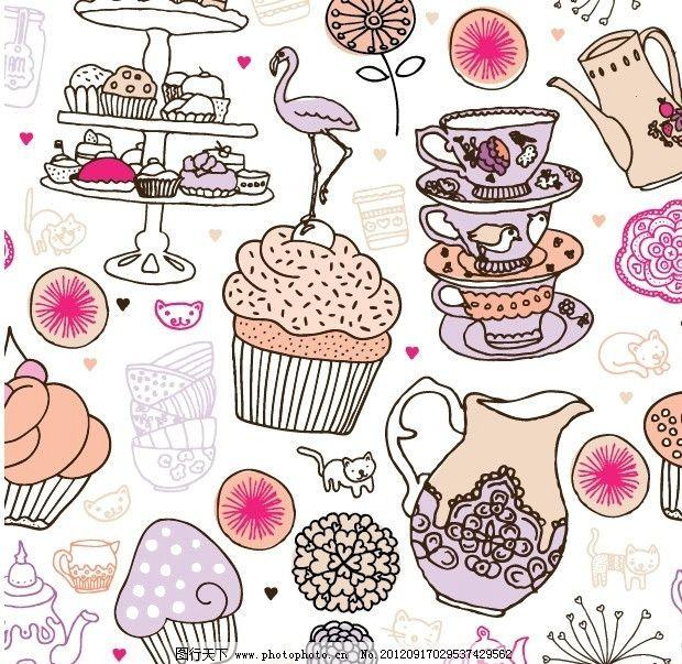 手绘卡通蛋糕 糕点 甜点