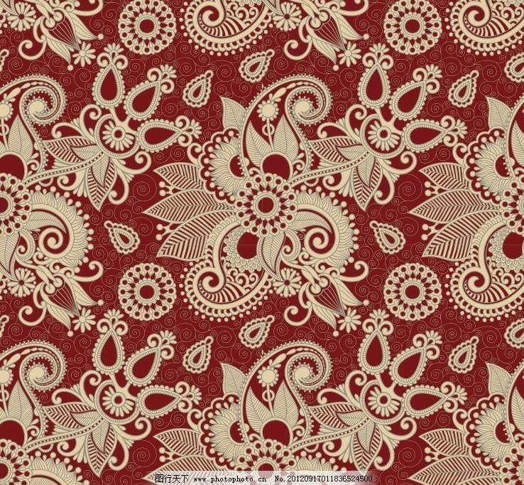 古典高贵花纹花卉背景 富贵 高贵 花卉 花朵 圆点 圈圈 无缝花纹 圆形