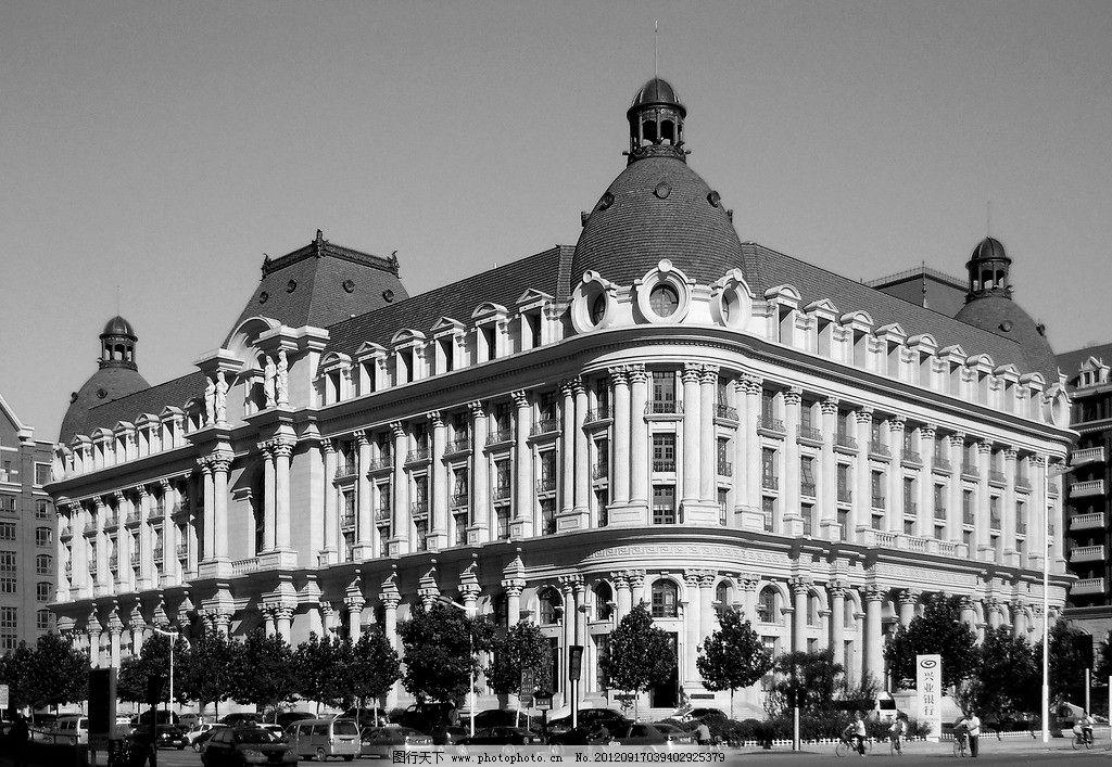 黑白西洋建筑立面手绘