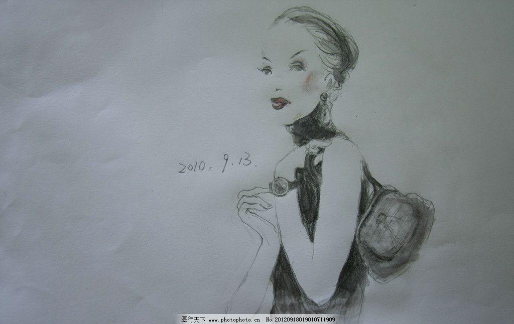 人物 人 女人 手绘 包 黑白画 文化艺术 绘画书法 设计 72dpi jpg