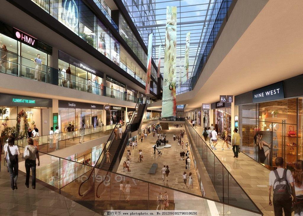 商业内街 商业设计 建筑设计 商场内部 室内设计 商务场景 商务金融
