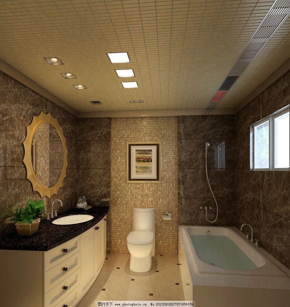 吊顶效果图 集成吊顶效果图 卫生间 欧式 奢华 高档 浴室 简单