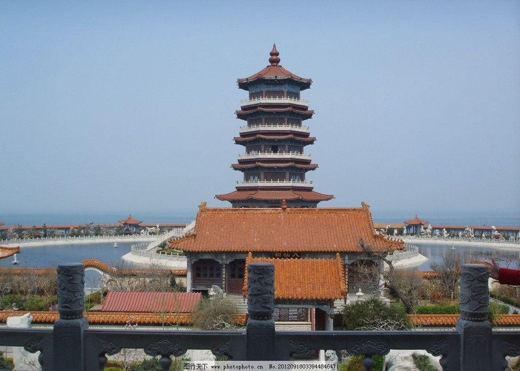 古建筑 塔 琉璃瓦 水 盆景 雕像 远山 国内旅游 旅游摄影 摄影 300dpi