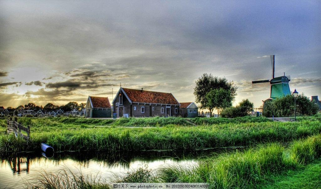 荷兰 农场 房屋 风车 芦苇 湖水 国外旅游 旅游摄影 摄影 72dpi jpg