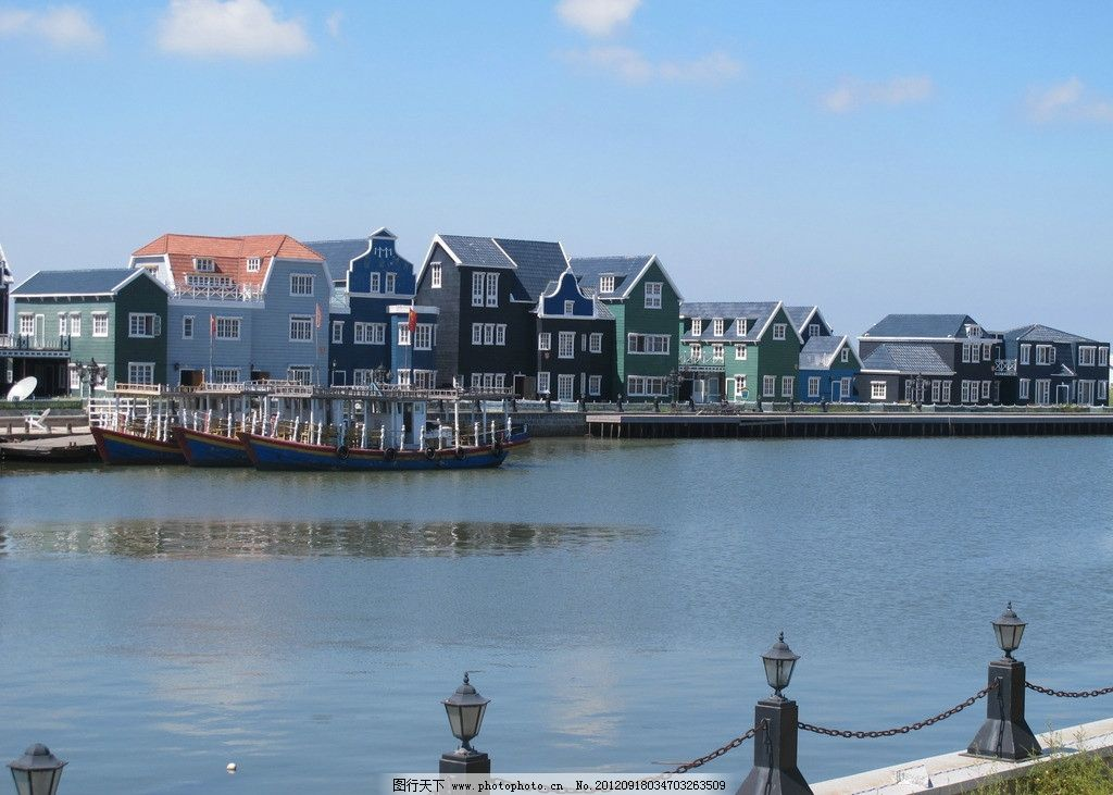 月坨岛荷兰风情建筑 小木屋 别墅 摄影 旅游 建筑景观