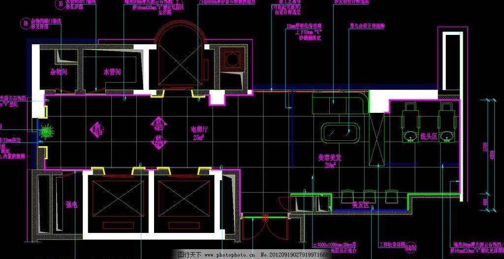 桑拿区 电梯接待厅平面图图片