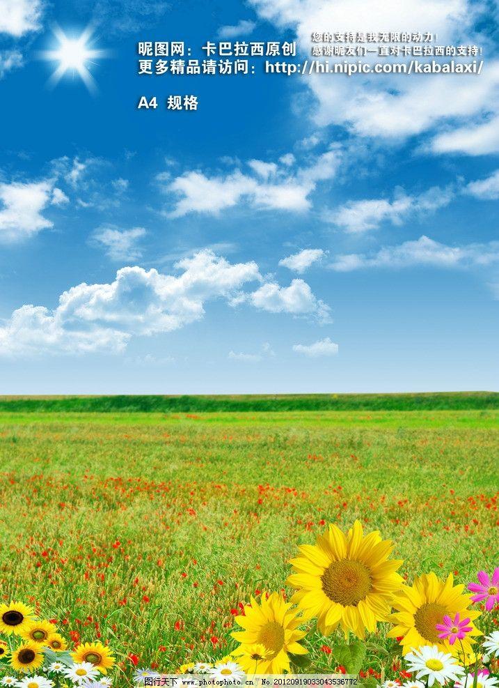 蓝天草地 蓝天白云 风景 草地 蓝天 白云 向日葵 田野 田园 野花 花海