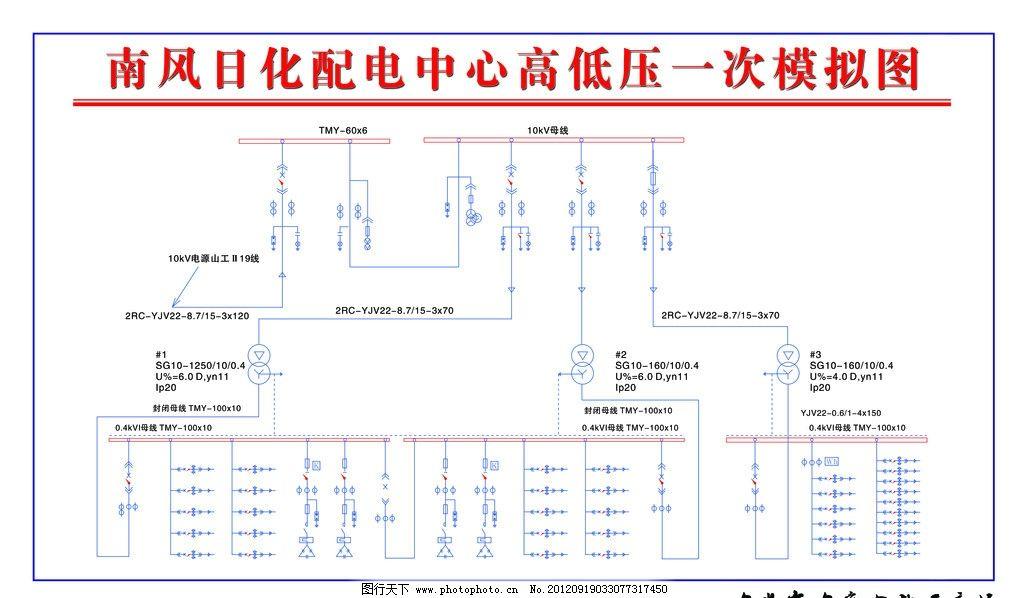 配电模拟图 配电中心 配电图电路 电路图 线路图 源文件