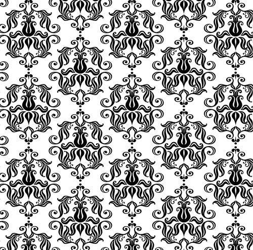 矢量欧式黑白平铺连续花纹