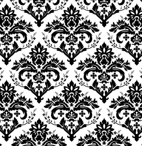 矢量黑白线条欧式花纹