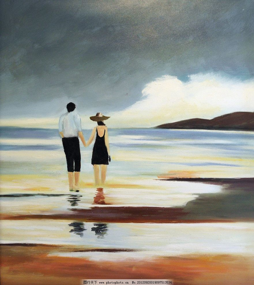 海边油画 无框画 水彩 软装 时尚 情侣 海滩 散步 绘画 绘画书法