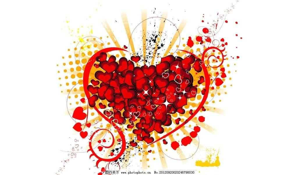 爱心背景 红色 爱心 涂鸦 花纹 花朵 心形 背景底纹 底纹边框 设计 72