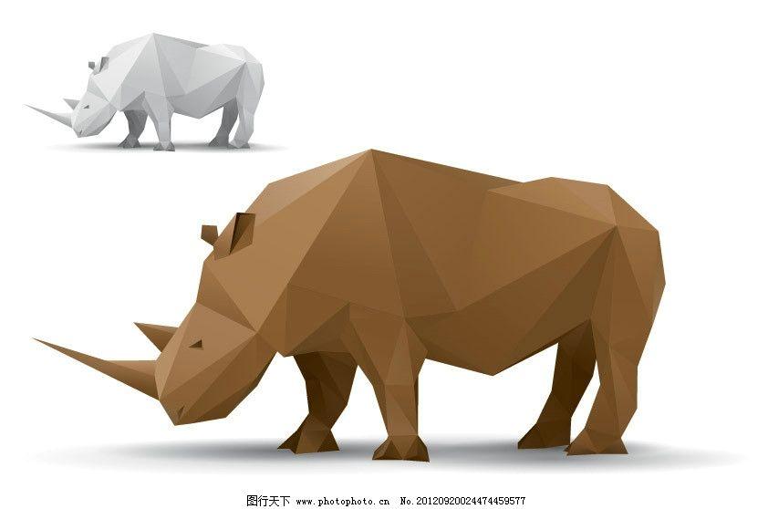 手绘犀牛 犀牛 矢量 野生动物 生物世界 eps