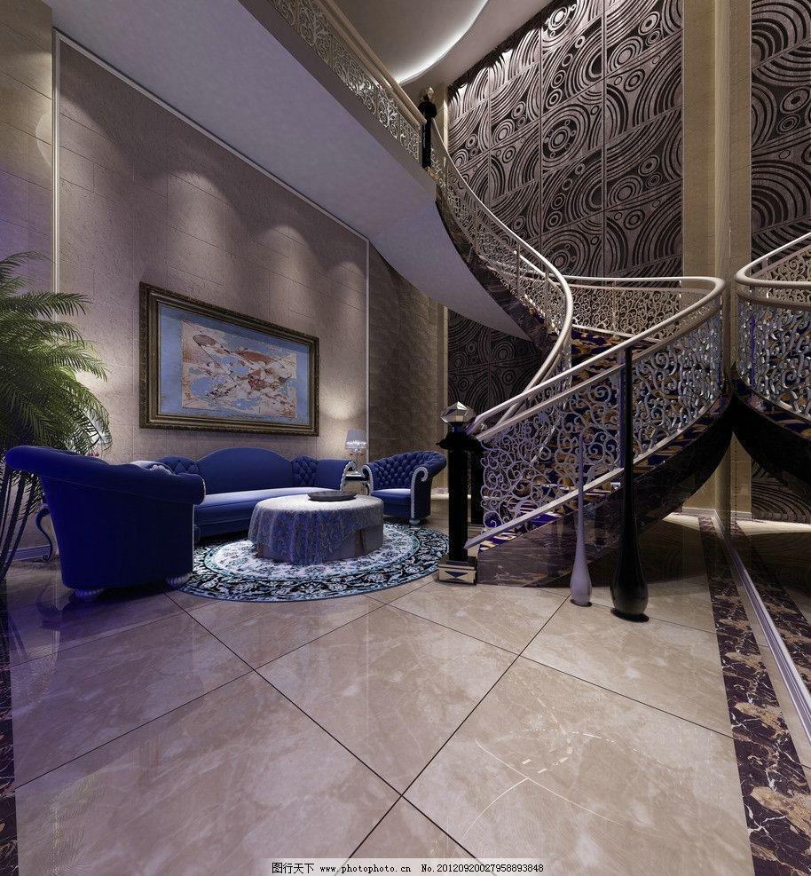 楼梯效果图 客厅 沙发 茶几 大厅 楼梯大厅
