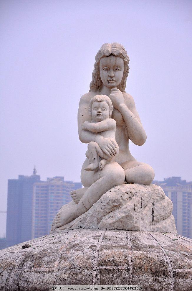雕塑人物母女 母女 石膏 雕塑 雕像 石头 建筑人物 小孩 景观 城市