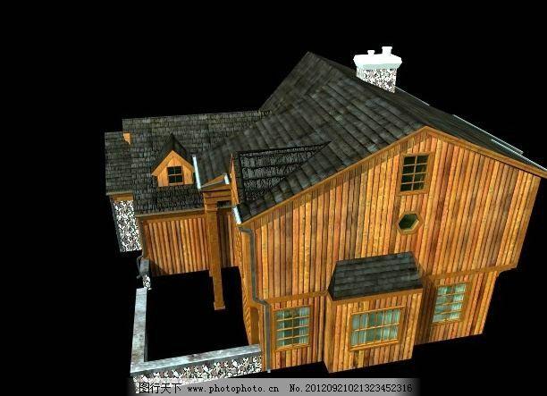木屋别墅模型 源文件 瓦屋面 三层别墅 阳台 窗户 老虎窗 烟囱