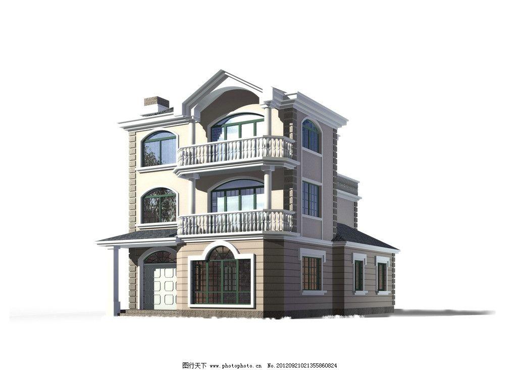 欧式坡屋面三层别墅模型图片