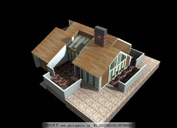 源文件 屋面 一层别墅 阳台 窗户 烟囱 三维建筑模型 欧式 乡村别墅