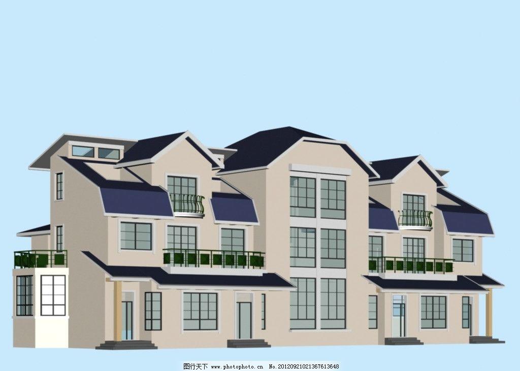 双拼型别墅模型图片