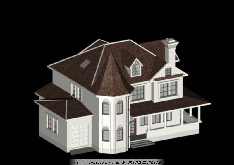 别墅模型 建筑 瓦屋面 窗户 墙面 门 源文件 阳台 欧式 烟囱