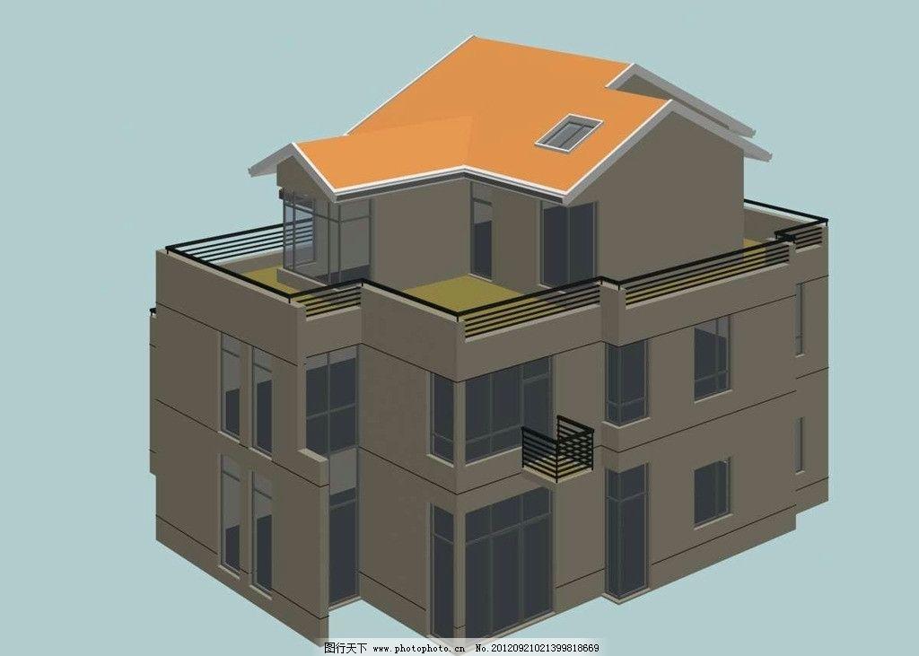 独立式坡屋顶现代别墅模型图片
