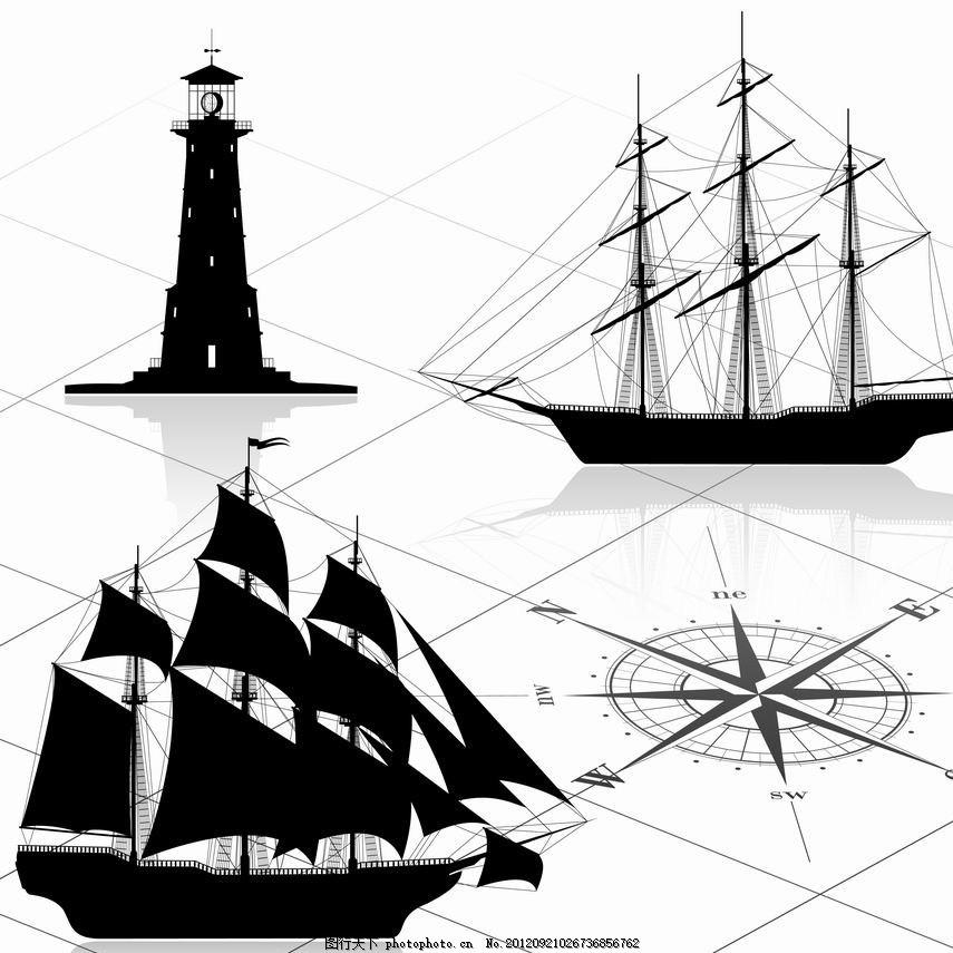 海洋元素 手绘 帆船 灯塔 指南针 矢量 交通工具 现代科技 eps