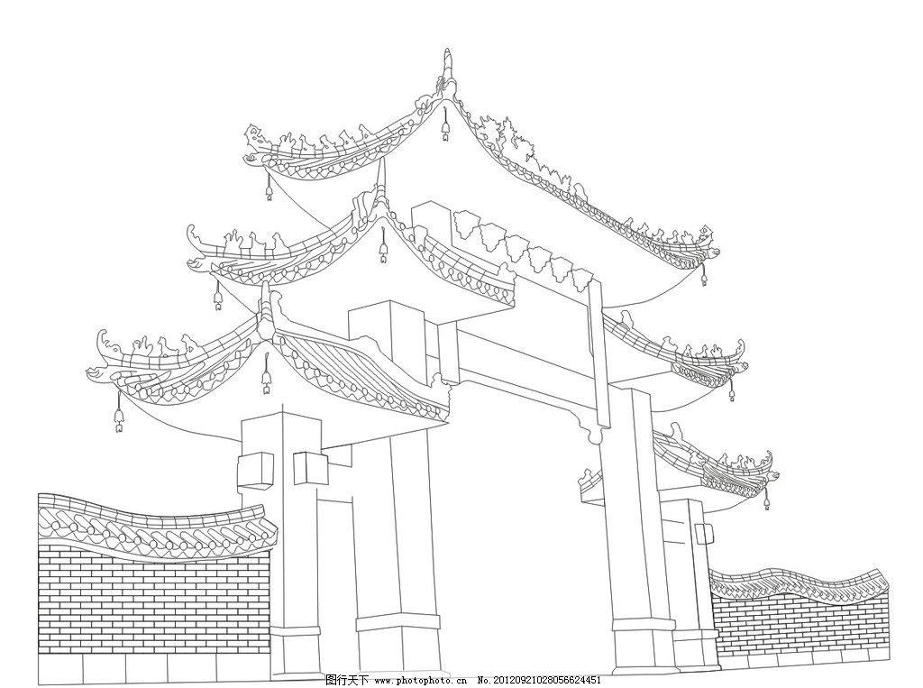 古建筑线描图图片-欧式尖顶建筑景观手绘线描图
