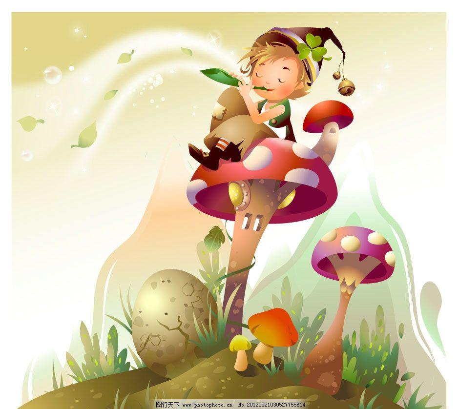 卡通 叮当 小男孩 蘑菇 蘑菇小屋 花草 蛋 旋律 音乐 天空 星星 可爱