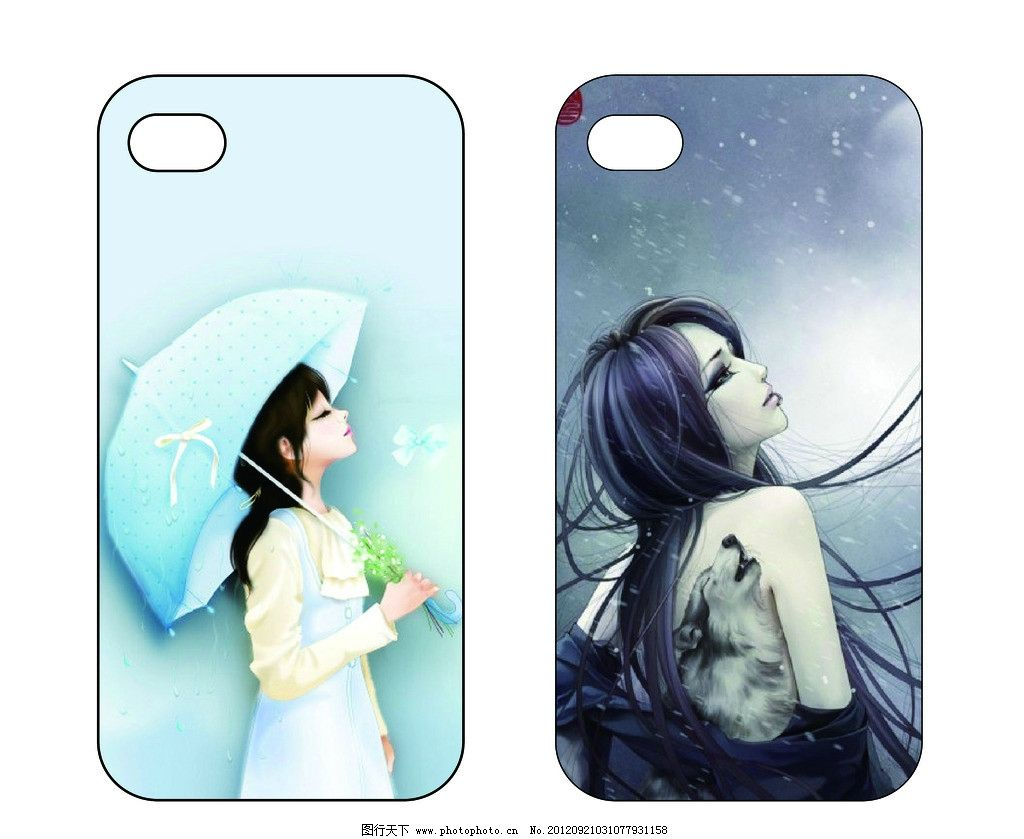iphone5 手机外套 广告设计 手机贴膜 苹果 可爱 女孩 卡通 人物 手绘