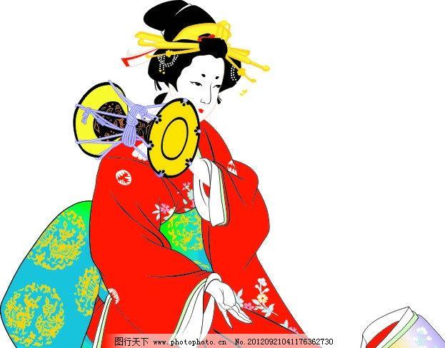 艺妓 日式 和服 舞姬 女子 和风 手鼓 舞蹈 日本 花纹 红 白面妆 妇女