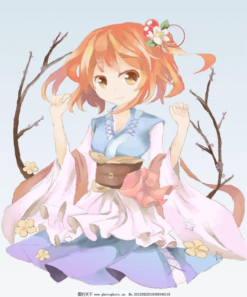 手绘穿裙子的女孩 手绘 红发 戴花 百褶裙 动漫人物 动漫动画 设计