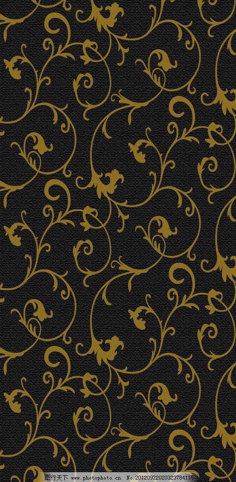 黑底金花墙纸纹 背景纹 金花纹 黑底纹 欧式底纹 底纹边框 花边花纹
