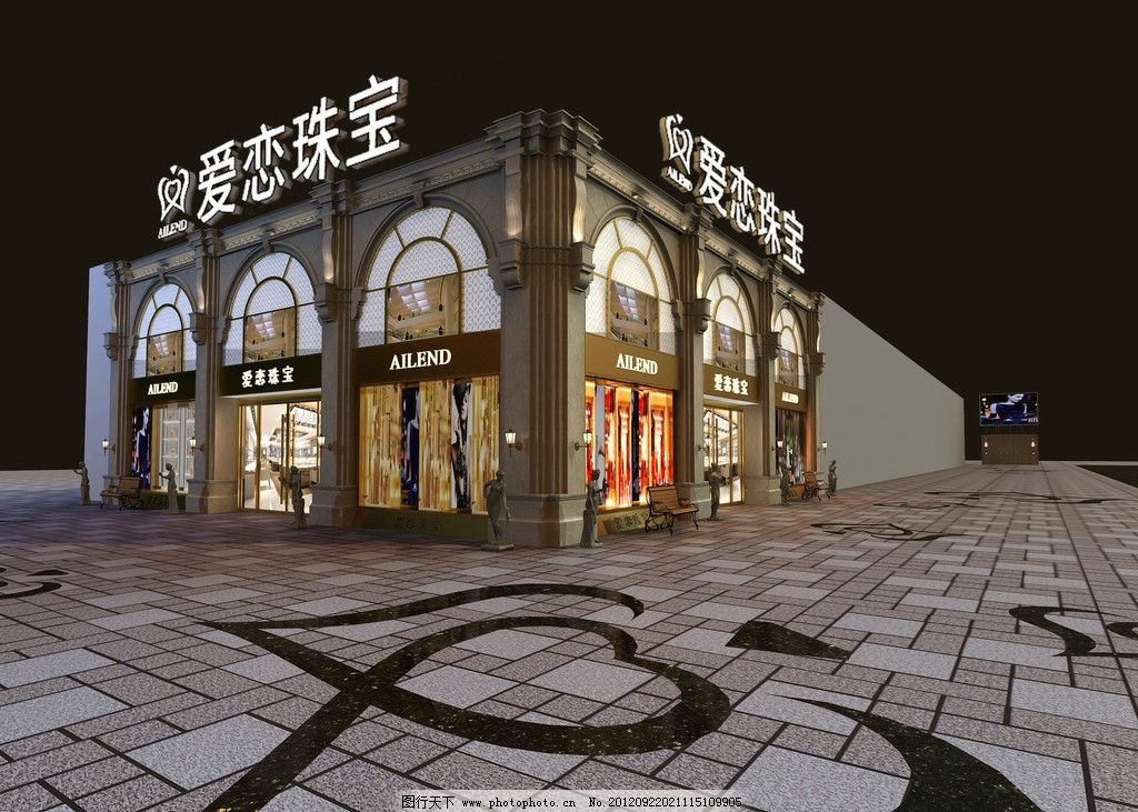 珠宝店面设计效果图 建筑设计 爱恋 夜景 灯光 地砖 花纹 雕塑图片
