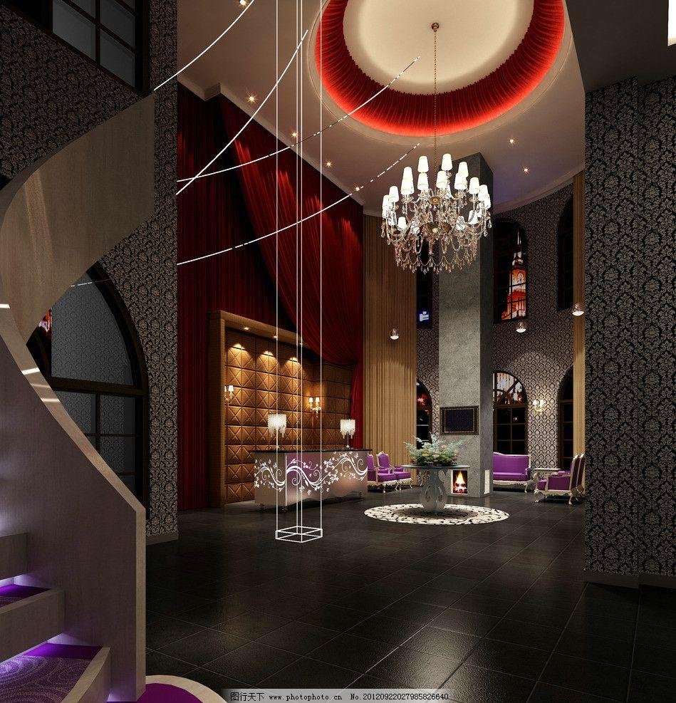 3d效果图 室内效果图 接待厅 楼梯 天花 灯 瓷砖