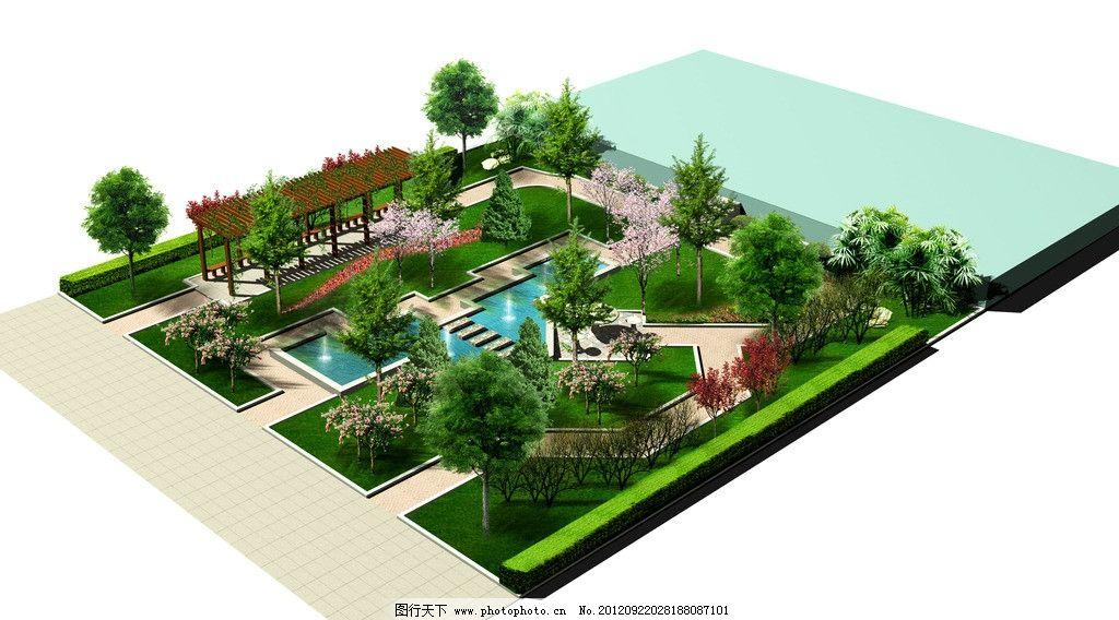 别墅小游园绿化效果图 别墅 小游园 绿化效果图 景观设计 环境设计 设