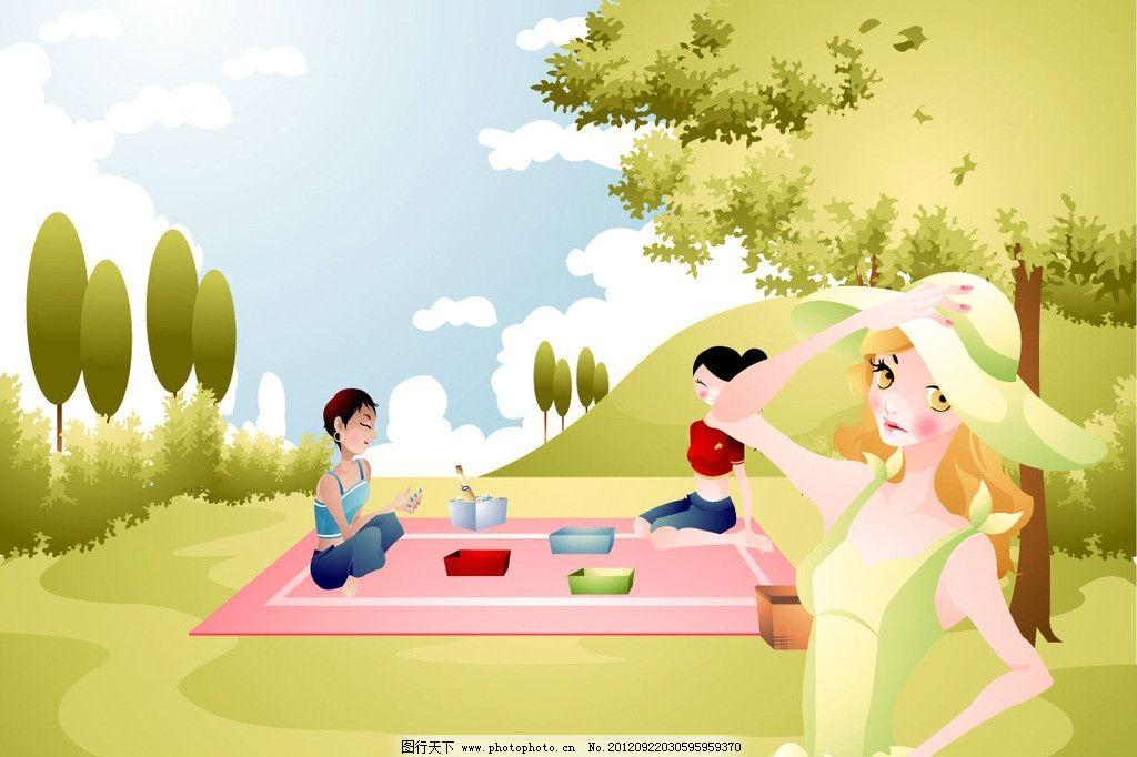 卡通野餐图片