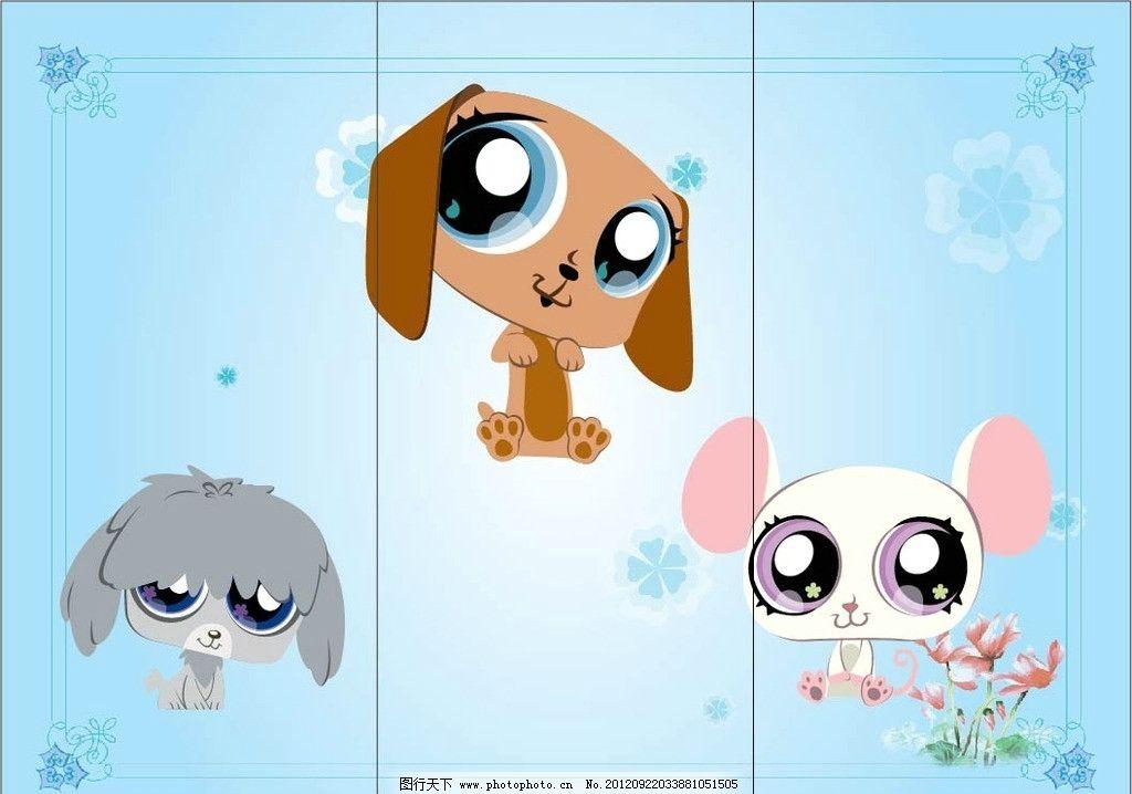 移门 移门小狗 卡通 大眼睛 灰色小狗 可爱小狗 白色小狗 移门图案