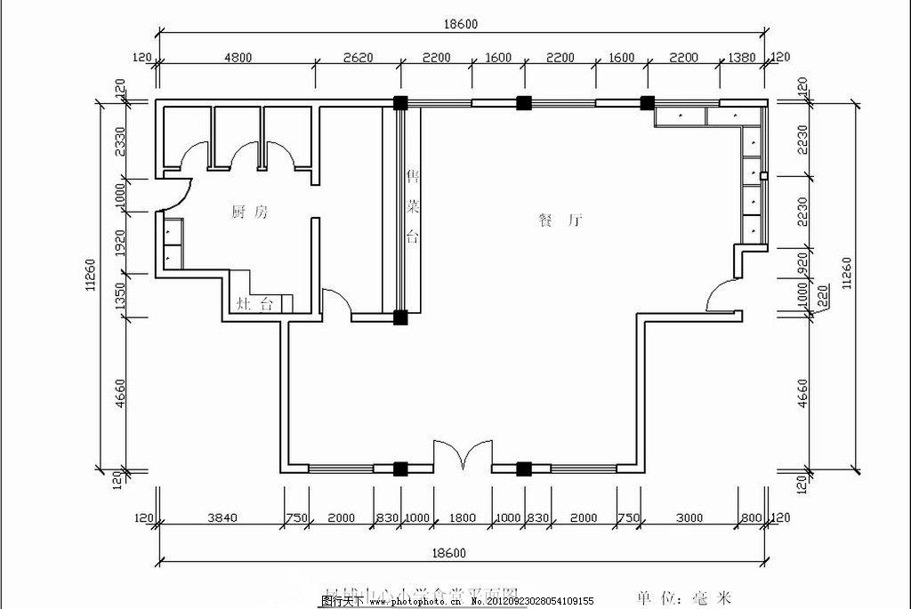 食堂 平面图 构图图片_建筑设计_环境设计_图行天下