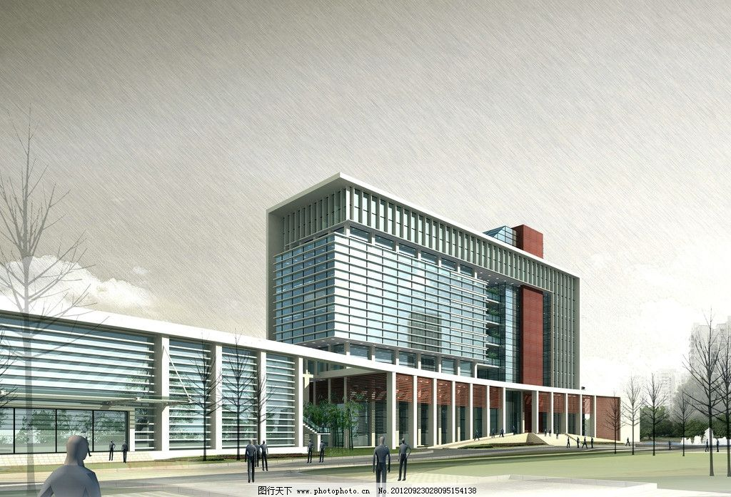办公楼透视效果图 办公        建筑 建筑设计 多层 小高层 环境设计